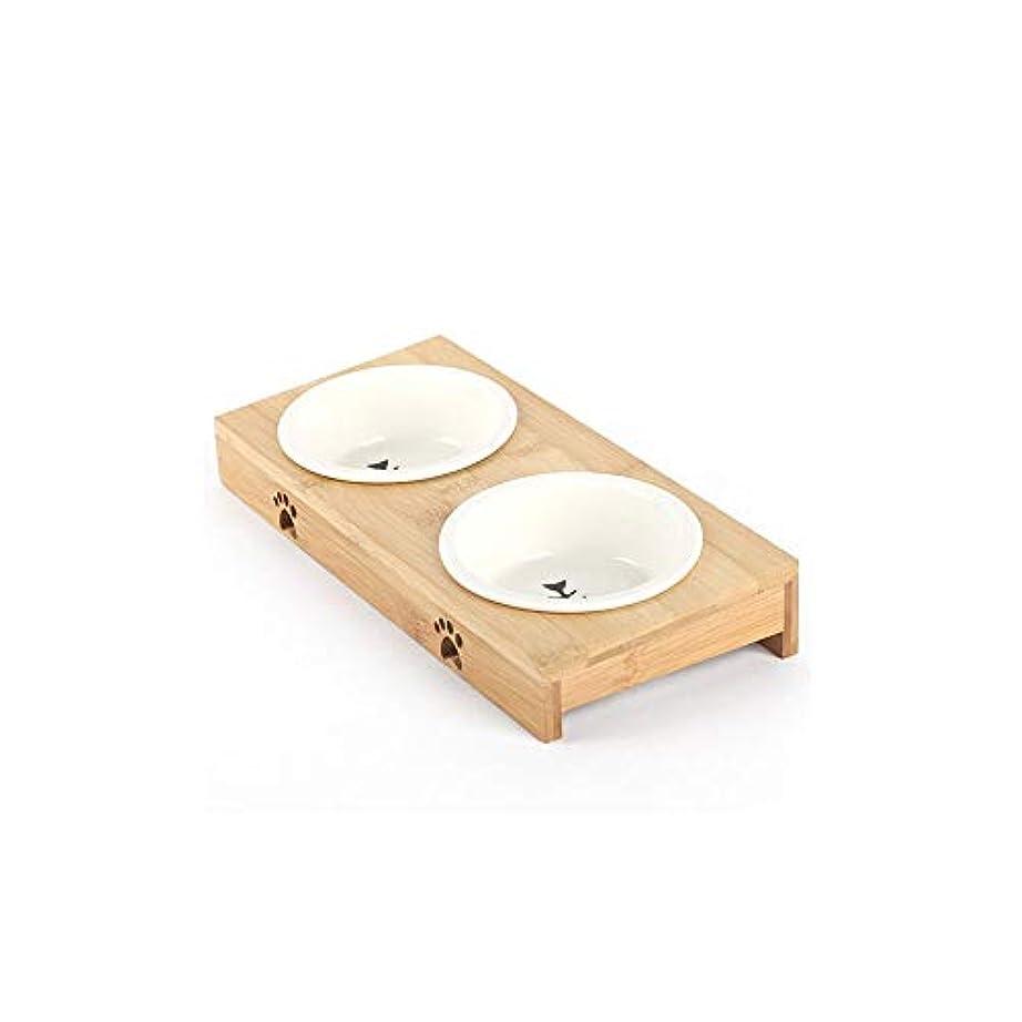 Xian ドッグボウル、セラミックダブルボウル、子猫、子犬の餌 Easy to Clean Non-Skid Bowls for Dogs