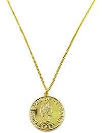 (京都 おかげさまで) コイン ネックレス エリザベス ゴールド シルバー コインペンダント (合金 ゴールドカラー, 45)