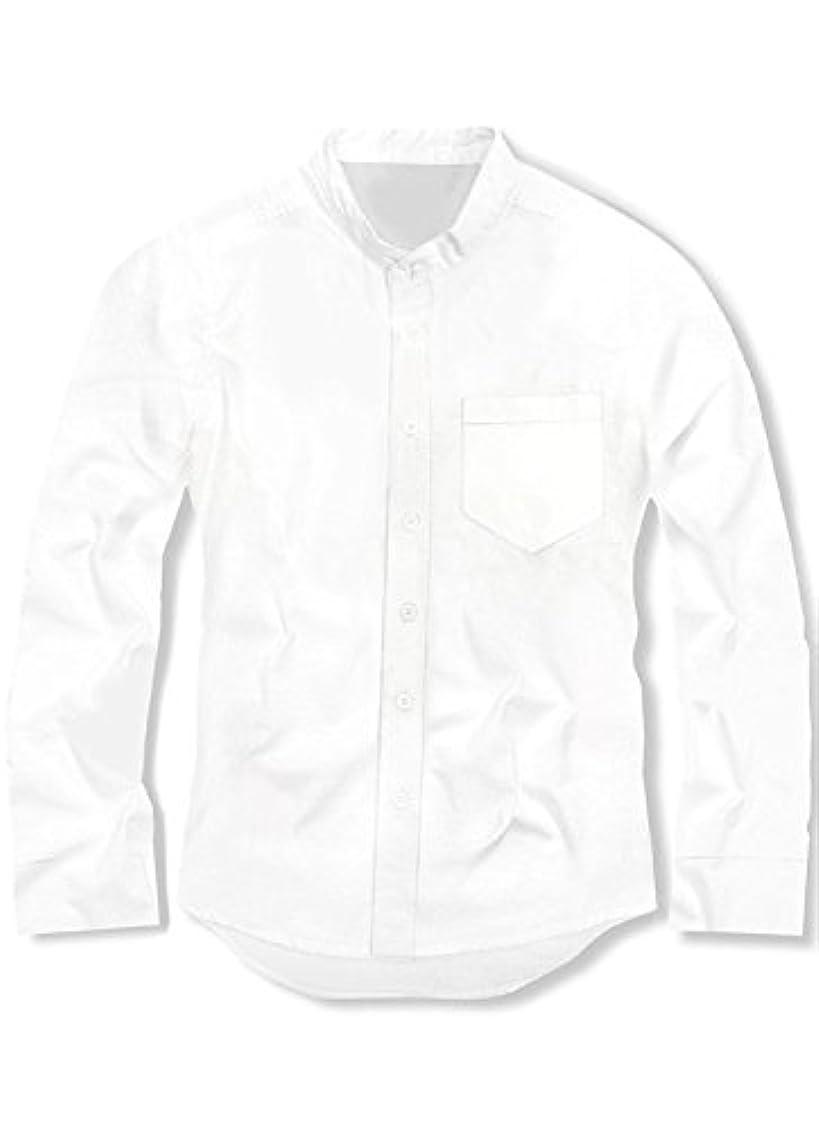 結婚式尊敬母スワンユニオン swanunion メンズ Yシャツ 襟なし バンドカラー 長袖 シャツ 無地 ホワイト 白 f141-men