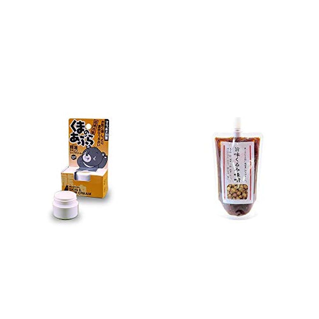 バルブ然としたシソーラス[2点セット] 信州木曽 くまのあぶら 熊油スキン&リップクリーム(9g)?旨味くるみ味噌(260g)