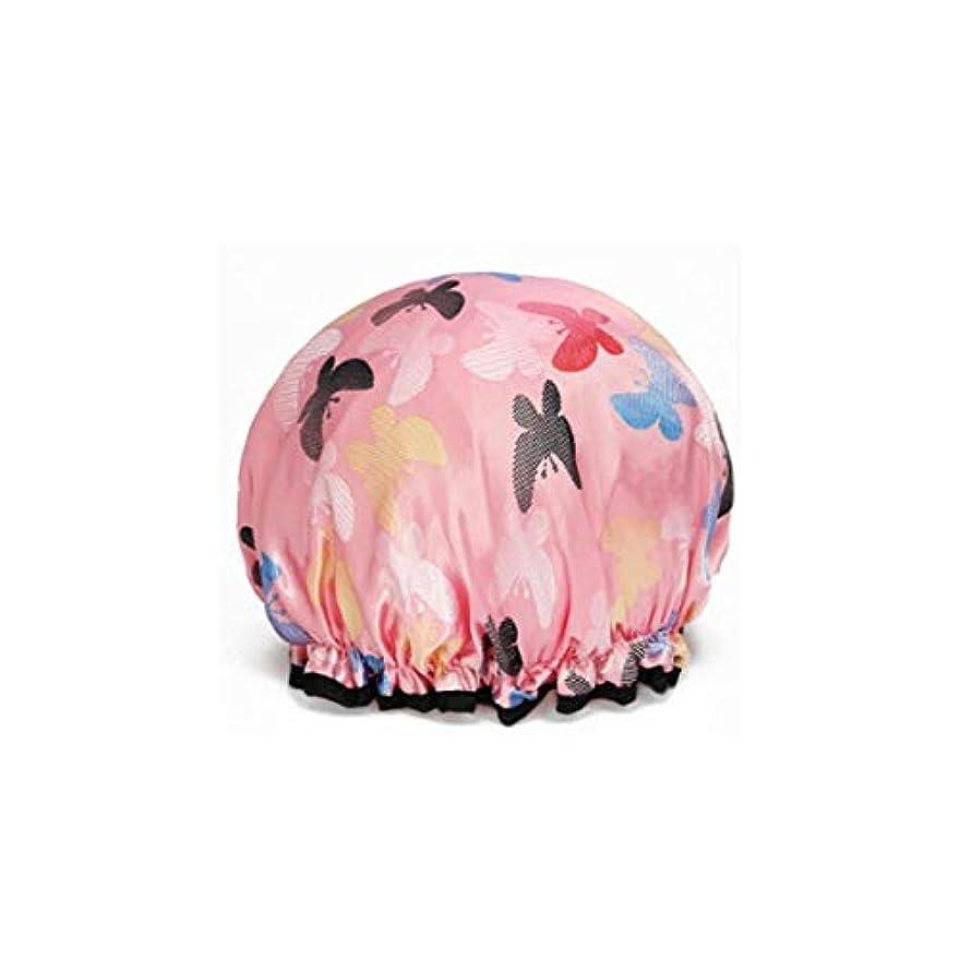 ベーリング海峡ライフル好奇心盛LBLMS 厚い防水シャワーキャップシャワーキャップ大人ダブルシャワーキャップシャンプーキャップほこりや煙キッチン (Color : A pink)