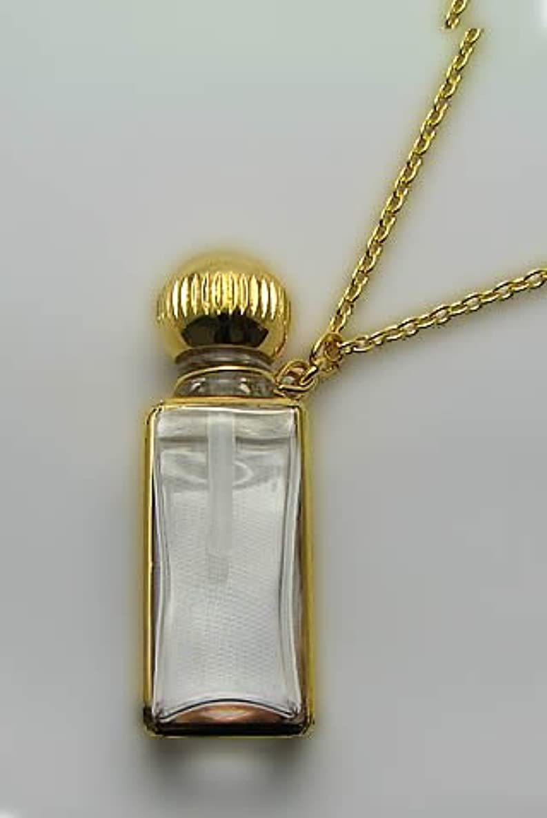ファッション本土依存するパフュームボトルペンダント スクエア 手描き ゴールド