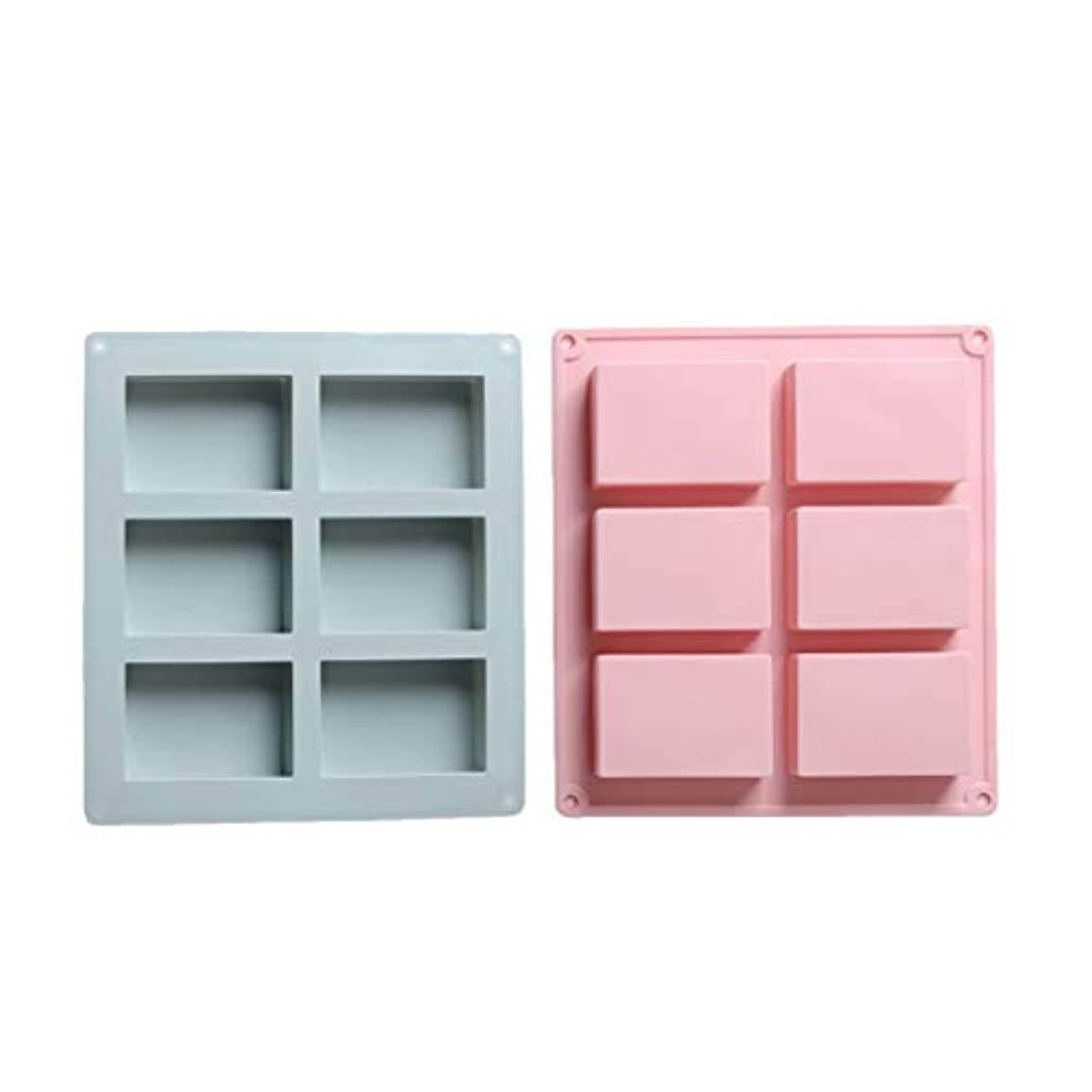 推定美人オーブンSUPVOX シリコン長方形モールドソープチョコレートキャンドルとゼリーブラウン2個(青とピンク)を作るための6つのキャビティ