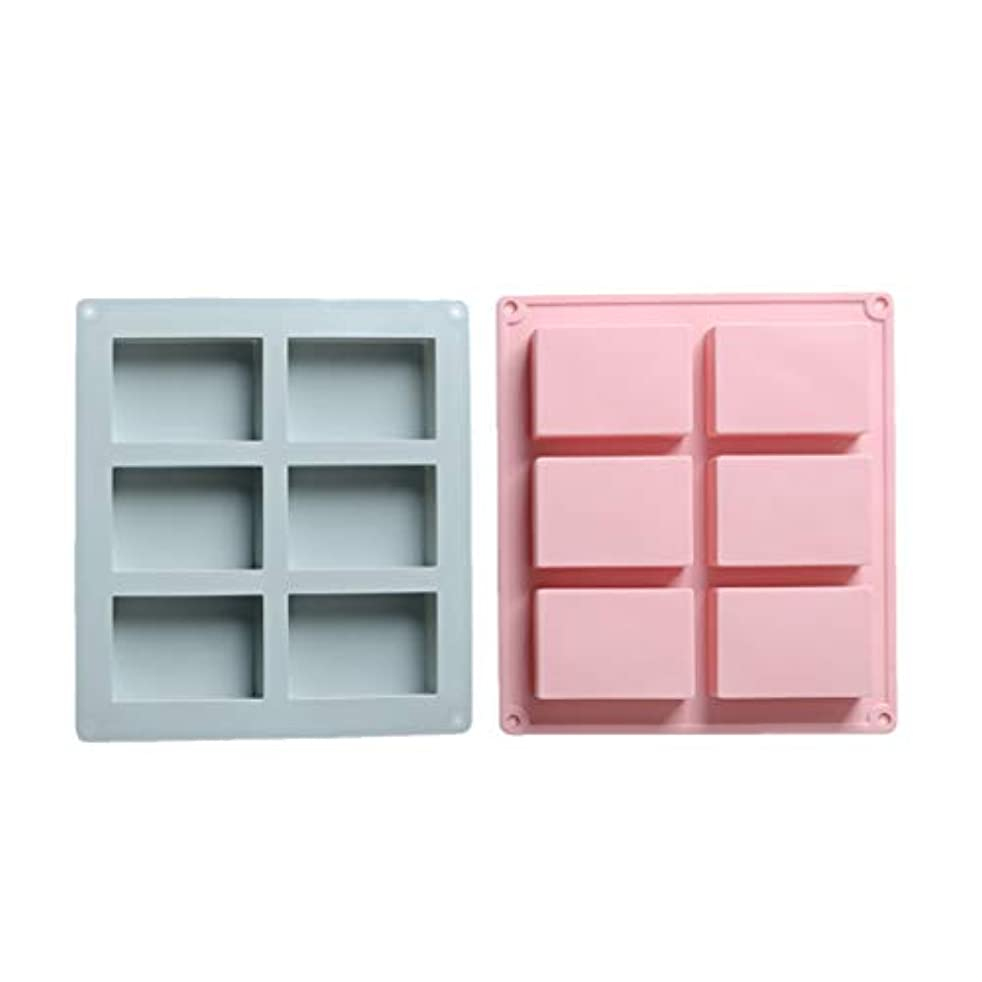 複雑なコンベンションのれんSUPVOX シリコン長方形モールドソープチョコレートキャンドルとゼリーブラウン2個(青とピンク)を作るための6つのキャビティ
