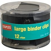 staples 大きなバインダークリップ 2インチ幅 1 容量 ブラック 12
