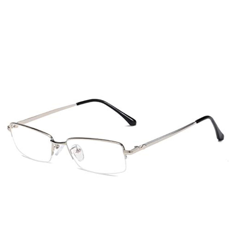 欠乏パフクローンSummerys 女性男性のためのアンチブルー眼鏡ファッションスクエアメタルフレームメガネ (Color : Silver)