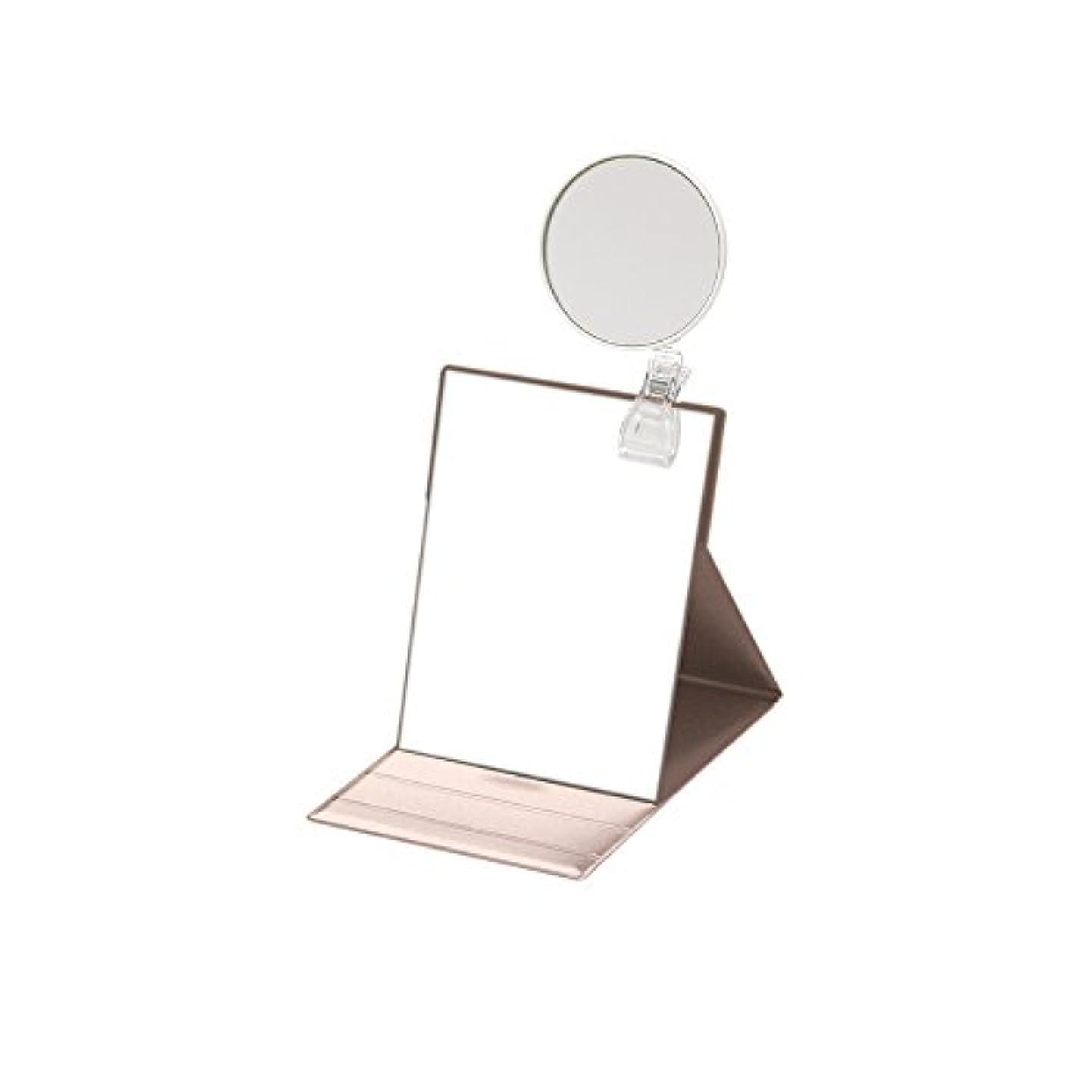 ペフ試す半円ナピュアミラー 5倍拡大鏡付きプロモデル折立ナピュアミラーM ピンクゴールド HP-34×5