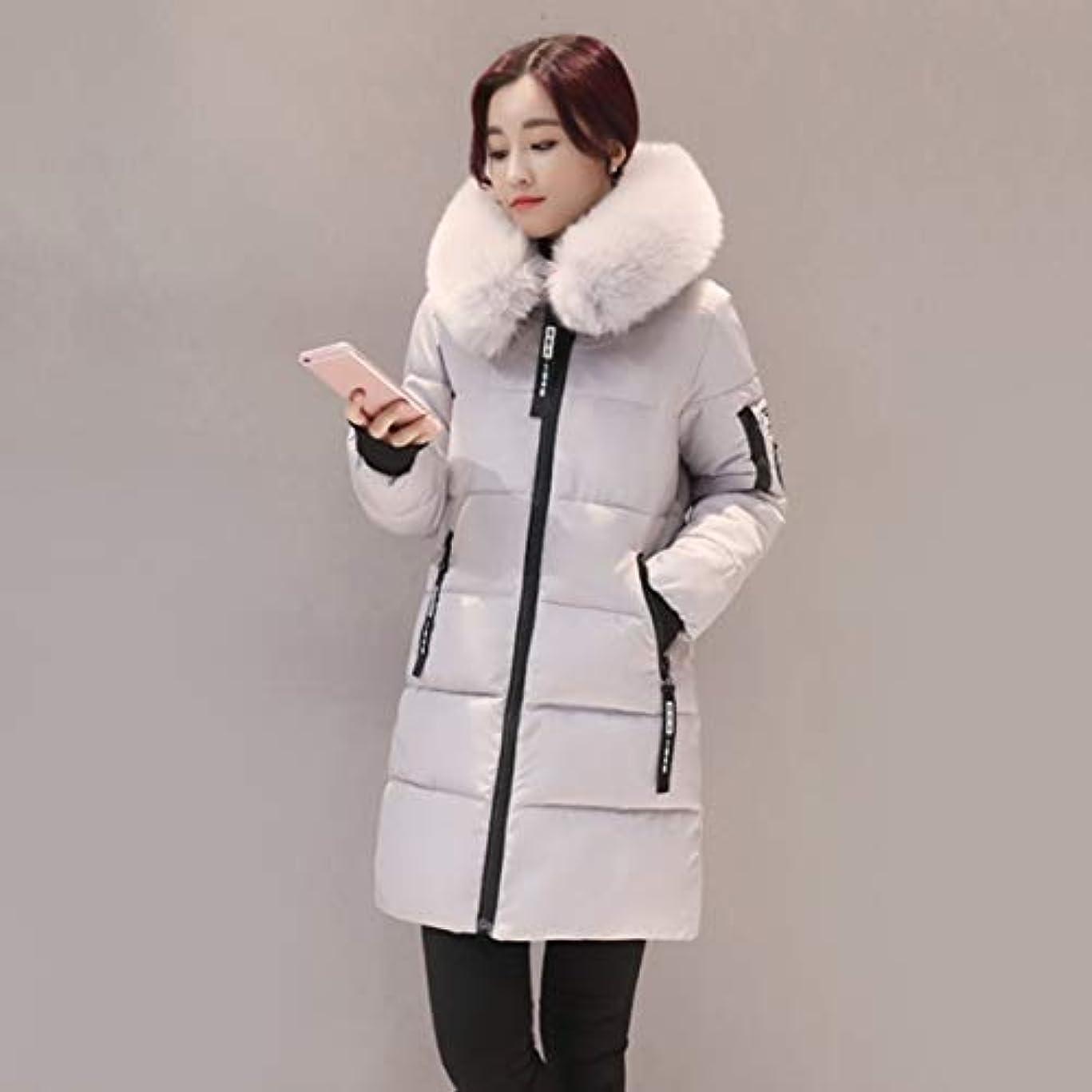 毎月蜂グラフィック韓国スタイルの女性のコートファッションオールマッチフード付きダウンジャケットコットンパッド入りの厚く暖かいコートミドルロング冬生き抜くコート-グレーXl