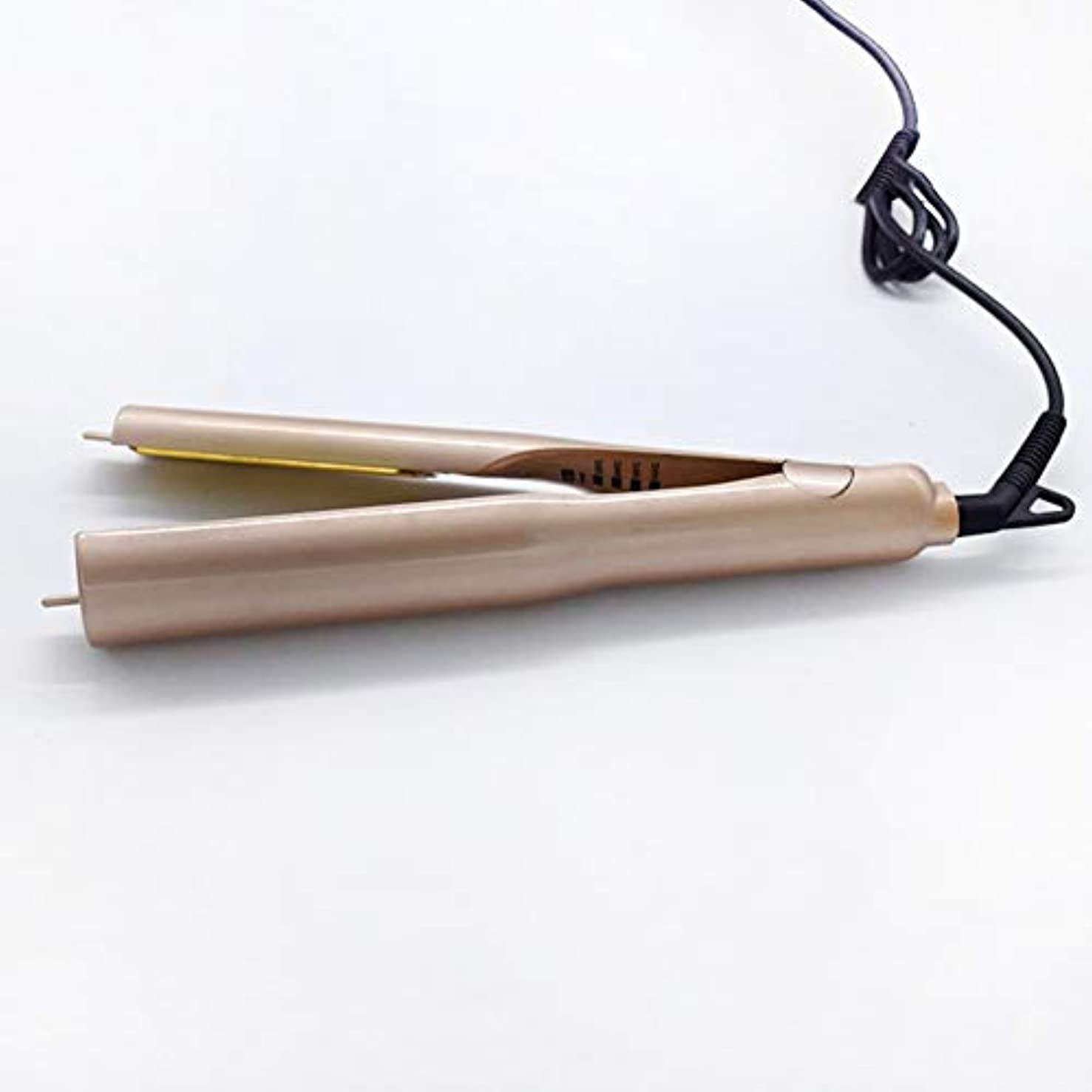 ホールドオール悪化する有彩色のロールストレートデュアルユースウェットアンドドライデュアルユーススピードホットヘアストレートナーテール回転可能なセラミックヒーターチューブは、あらゆる種類のヘアゴールドギフトバッグに適した髪を傷つけることなく持ち運びが簡単