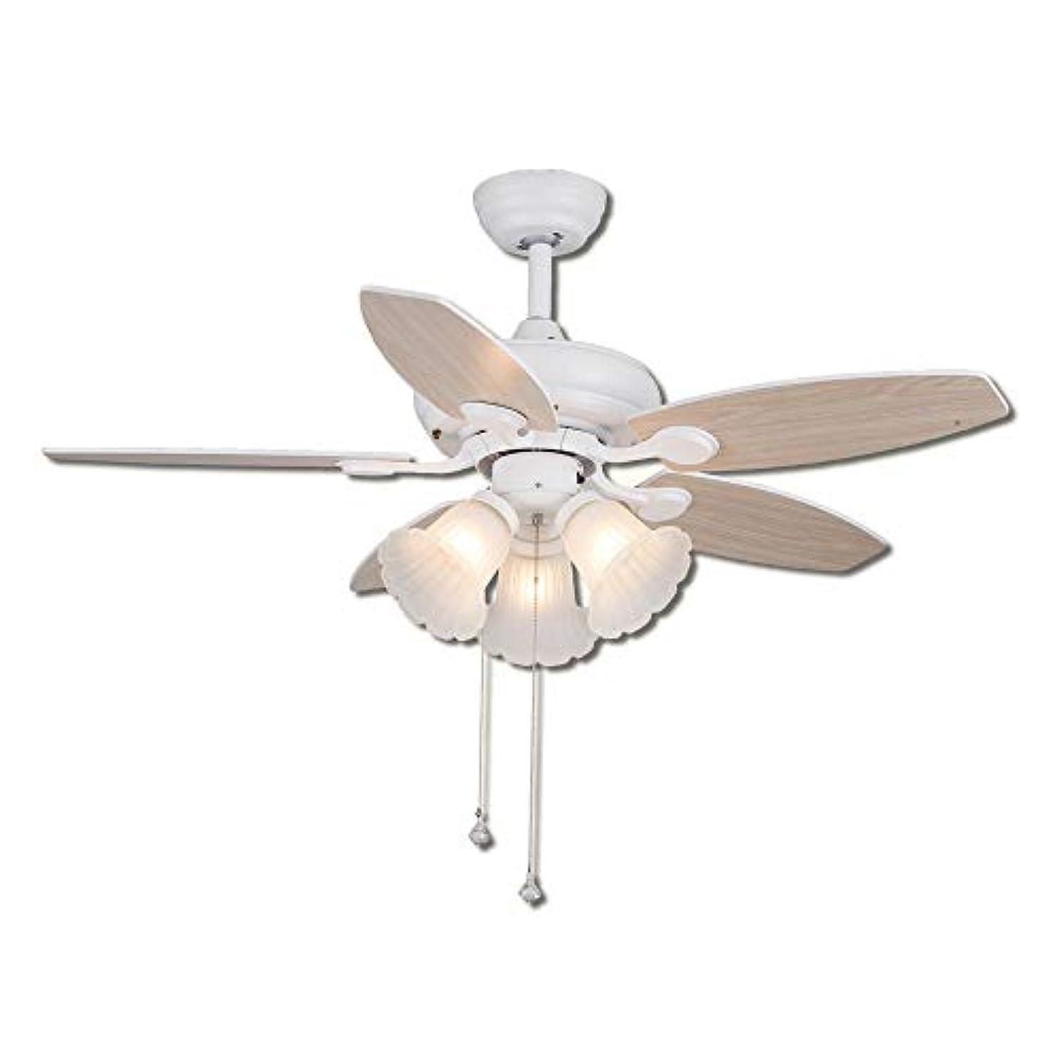研磨剤団結する句読点ライトと天井のファン、ロープコントロール静かでサイレントモーターシャンデリアと白い花の形のガラスランプシェードとランプと天井のファン(光源を含まない)