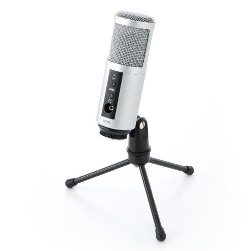 サンワダイレクト USBマイク PCマイク 単一指向性 コンデンサータイプ 「歌ってみた」などの動画...