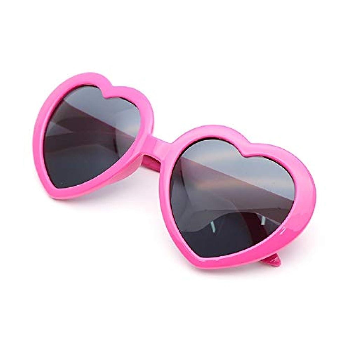 喜んであなたはマリンリタプロショップ? 面白サングラス UVカット ハートサングラス ハート型 眼鏡 めがね メガネ コスプレ パーティー (ローズピンク)