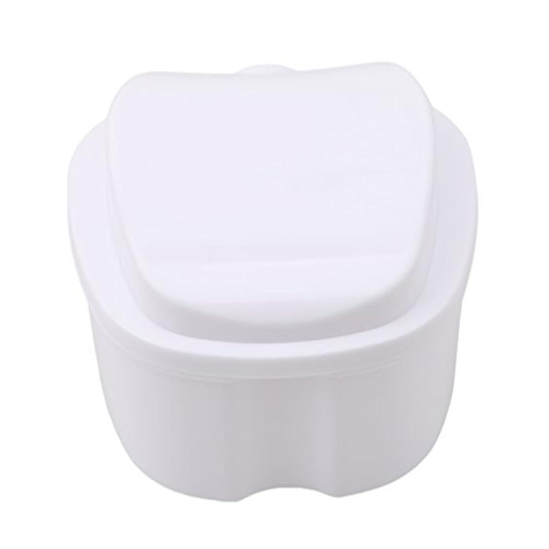 パース雇った水平Honel 収納ボックス 義歯収納用 リテーナーケース りんご柄 ホワイト