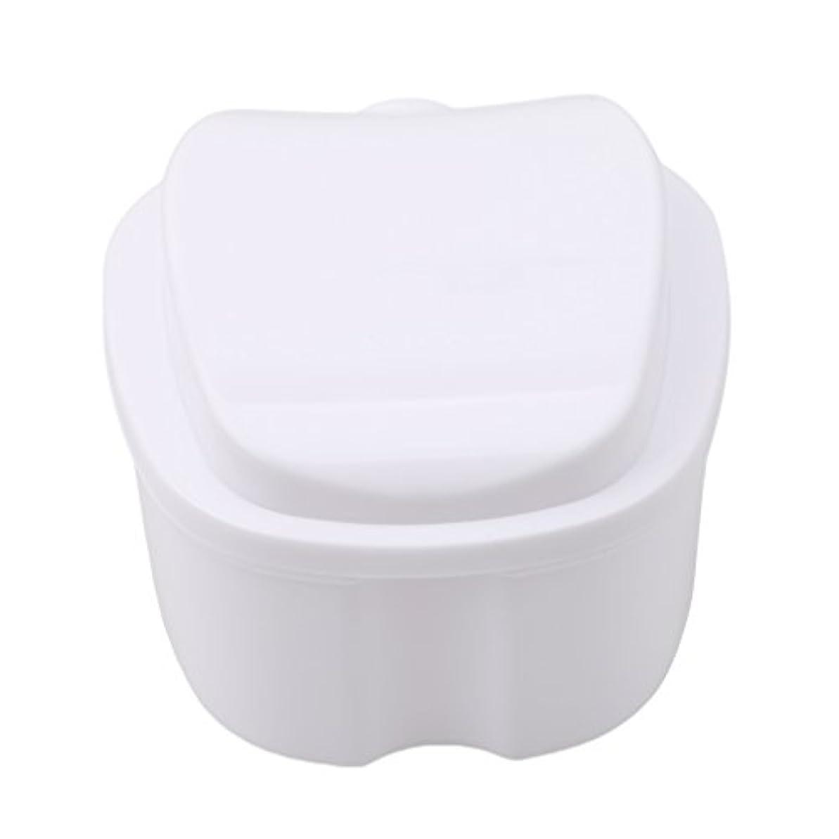 芽製作口ひげHonel 収納ボックス 義歯収納用 リテーナーケース りんご柄 ホワイト