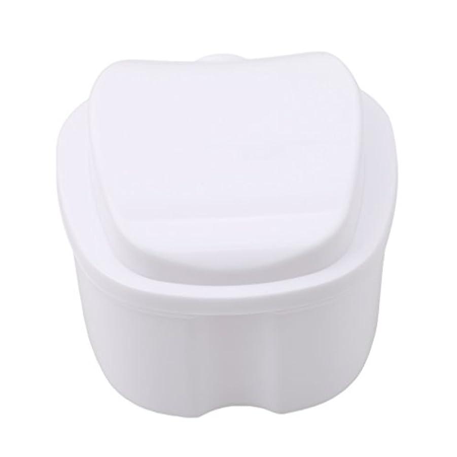 世論調査死の顎クスクスHonel 収納ボックス 義歯収納用 リテーナーケース りんご柄 ホワイト