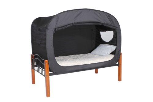 プライバシー・ポップのベッドテント (ツイン) - ブラック...
