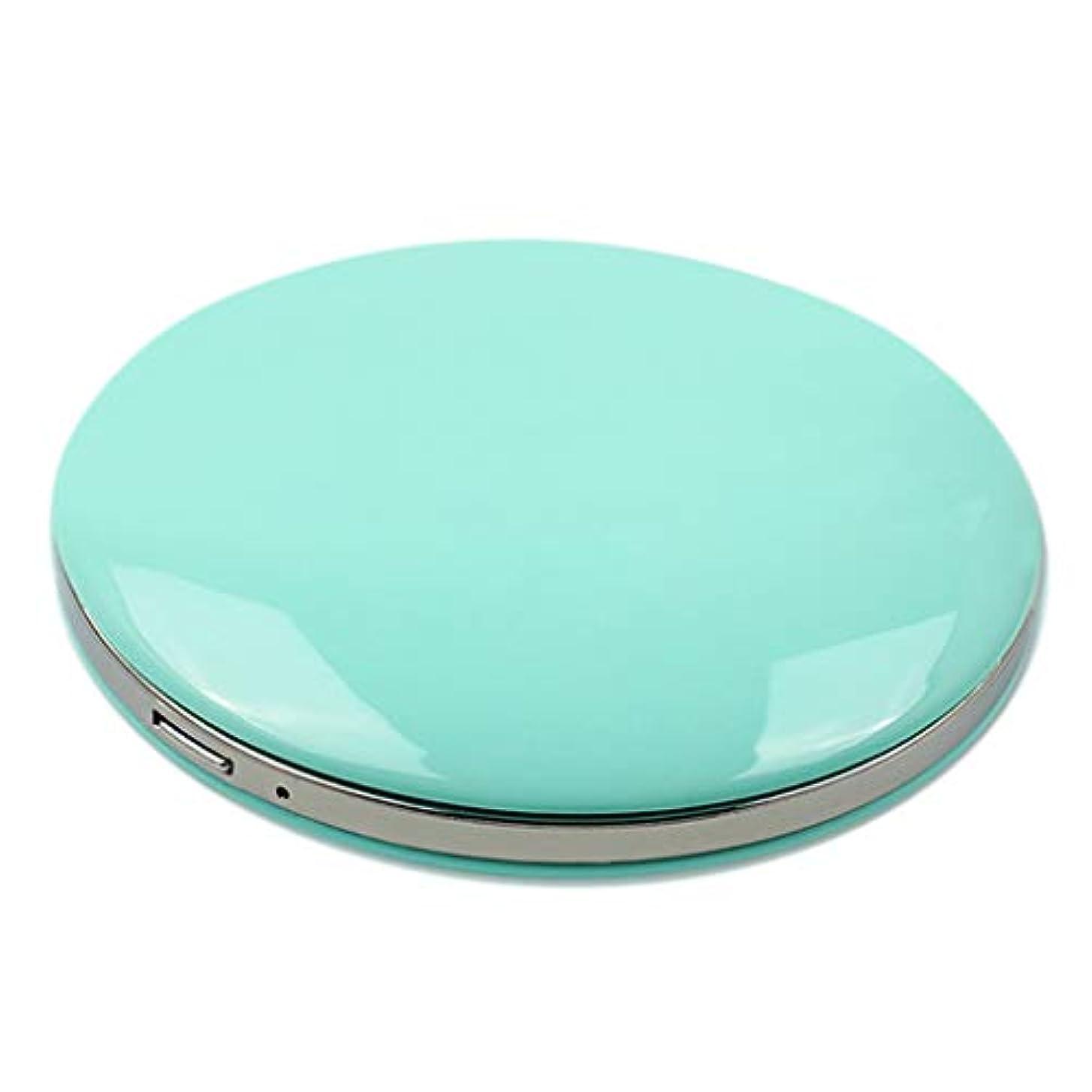 葉ぐったり危険を冒しますコンパクトミラー 拡大鏡付き 3倍 LED付き 化粧鏡 携帯ミラー 化粧鏡 手持式 持ち運び 全5色 - 緑