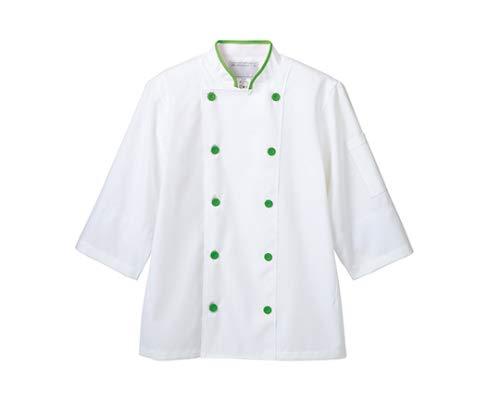住商モンブラン MONTBLANC(モンブラン) コックコート兼用7分袖 白 グリーンネット S 6-473