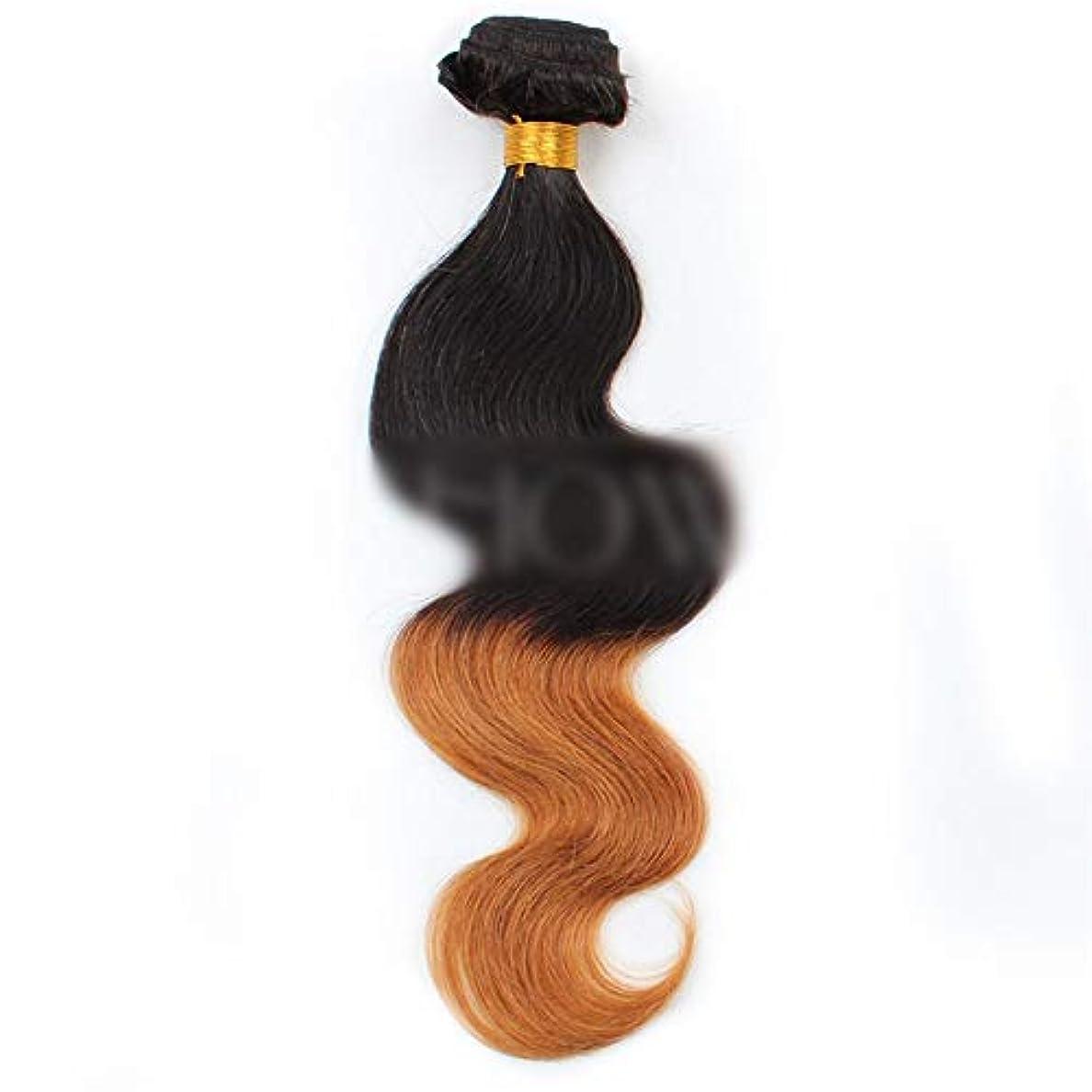 赤字小麦粉絶え間ないBOBIDYEE ブラジルの人間の髪の毛のボディ織り方ヘアエクステンション-1B / 30#黒から茶色へのグラデーショングラデーションカラー髪の織り方1バンドル、100g合成髪レースかつらロールプレイングかつら長くて短い...