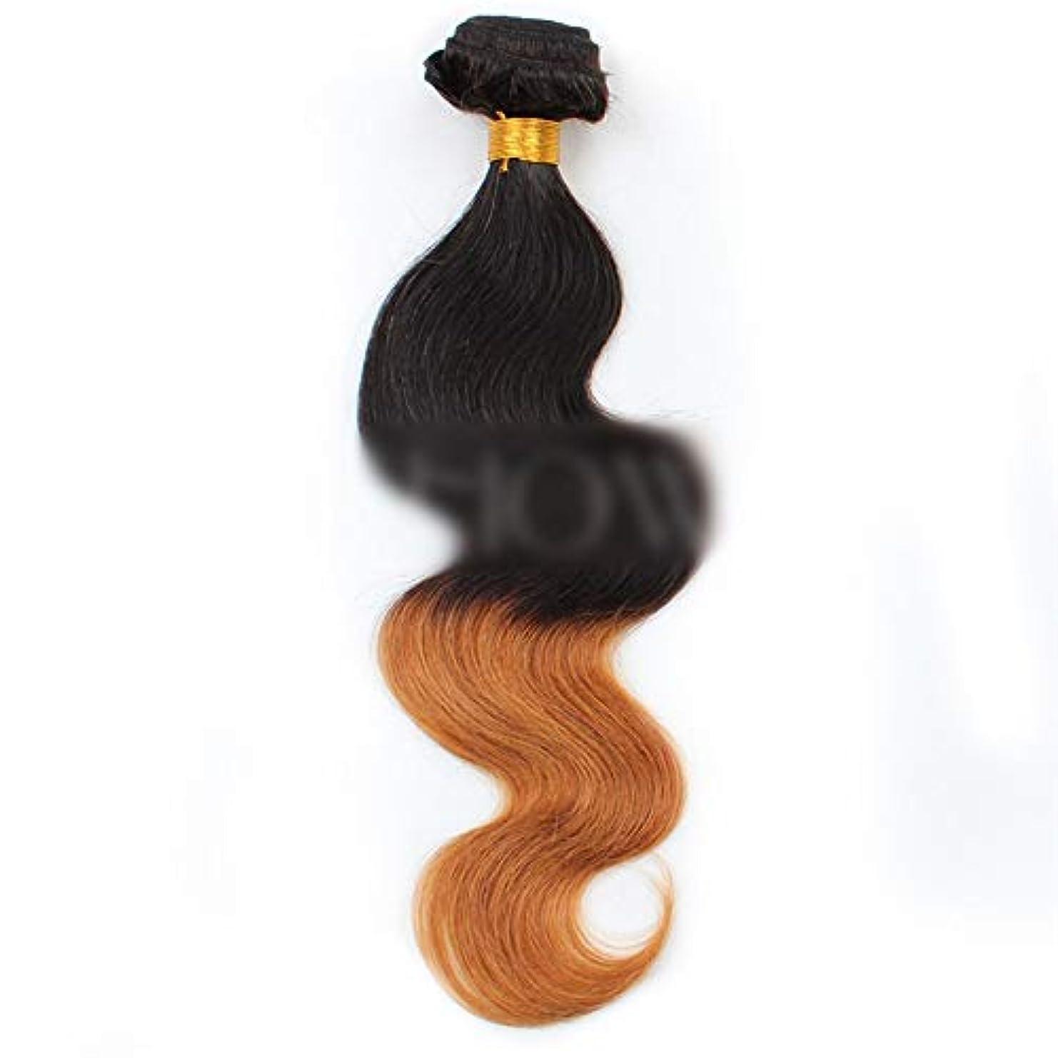 キャンセル原子炉甘いHOHYLLYA ブラジルの人間の髪の毛のボディ織り方ヘアエクステンション-1B / 30#黒から茶色へのグラデーショングラデーションカラー髪の織り方1バンドル、100g合成髪レースかつらロールプレイングかつら長くて短い女性自然 (色 : ブラウン, サイズ : 18 inch)