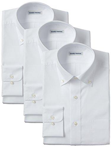 (はるやま) HARUYAMA 42サイズ展開 形態安定加工 イージーケア長袖白ボタンダウンワイシャツ 3枚セット M151180084 01 ホワイト 4178(首回り41cm×裄丈78cm)