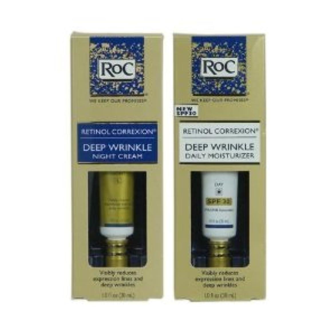 受益者椅子南RoC レチノール コレクション 2本セット (昼+夜セット) フランス製 RoC Retinol Correxion Deep Wrinkle Day/Night set