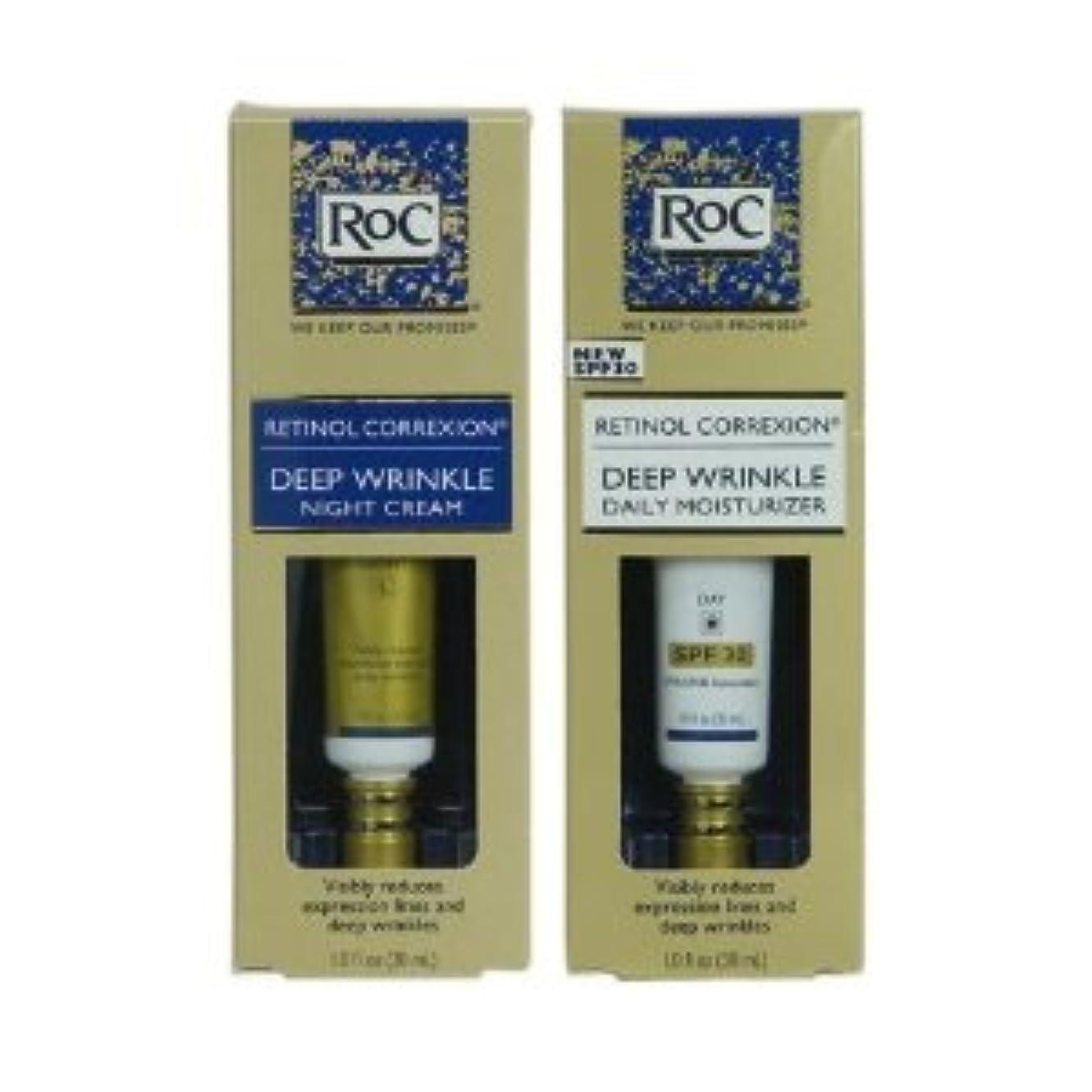 クレーター卒業シェードRoC レチノール コレクション 2本セット (昼+夜セット) フランス製 RoC Retinol Correxion Deep Wrinkle Day/Night set