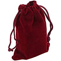 Flyme 10pcs 7 * 9cm Velvet Drawstring Wedding Favor Gift Bags Candy Bag Jewelry Pouch (Wine Red)