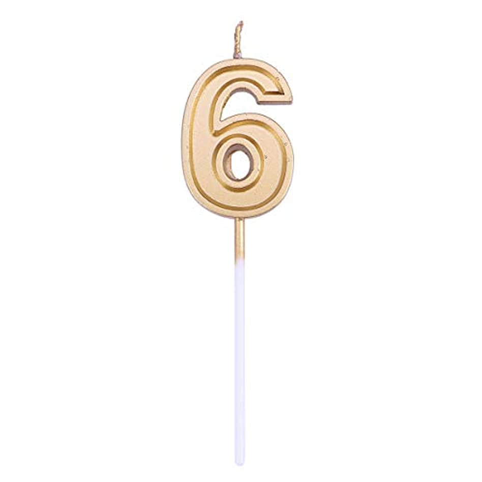 征服迫害ケーブルカーYeahiBaby 番号6キャンドルゴールドラメ誕生日番号キャンドルケーキトッパー装飾