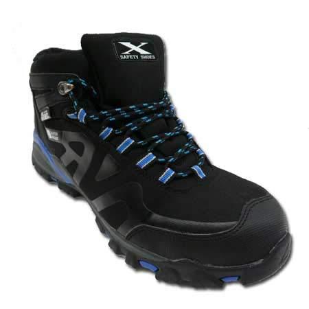 [ジーベック] 安全靴 ハイカット スニーカー 85143 防水 レディースサイズ対応 セーフティシューズ 鋼製先芯(黒/青 25.0)
