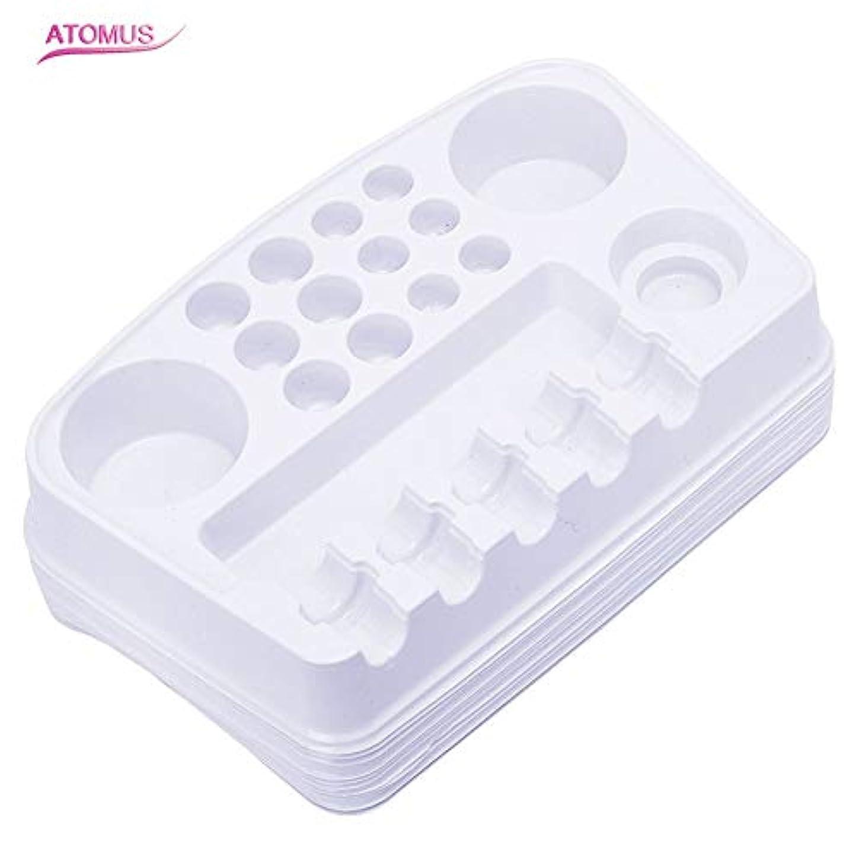 コック何十人も嫌いタトゥー インクカップ 機械 針 ホルダー 収納ラック, ATOMUS 10個 使い捨てプラスチック 顔料 カップホルダートレイプレート