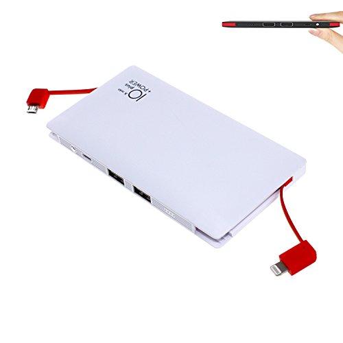 Yoaidoo モバイルバッテリー 10000mAh ケーブル内蔵 薄型 軽量 大容量 Lightning/microUSBコネクタ付き 2USBポート同時充電 スマホ 充電器 コンパクトで持ち運び便利 iPhone&Android各種対応 ホワイト