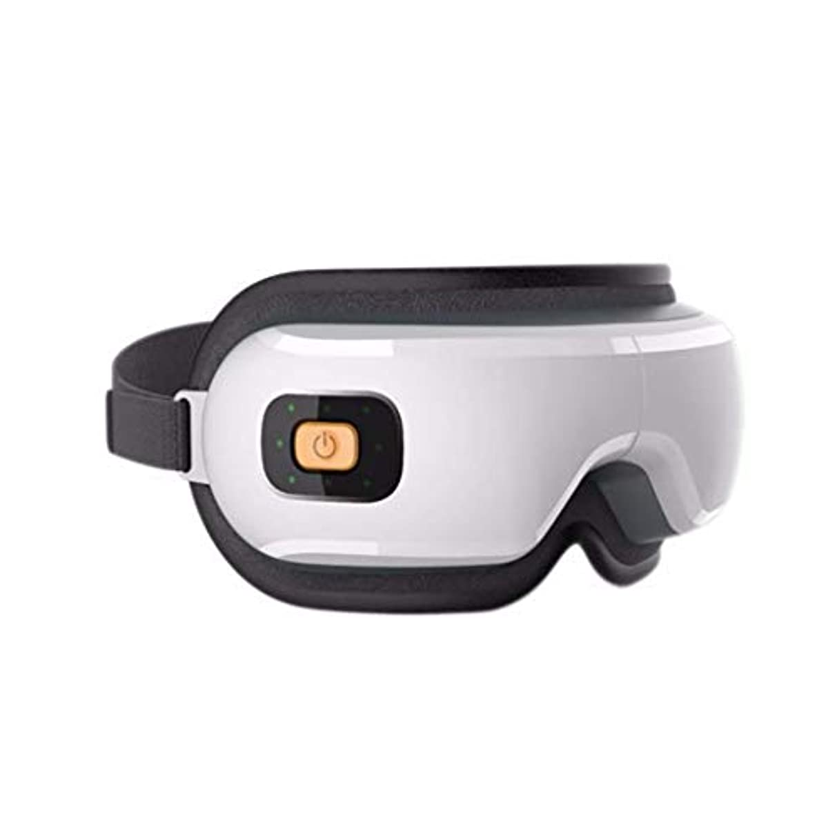 受信扱いやすい文明化するアイマッサージャー、電動ポータブルアイマッサージツール、USB充電、スマートアイケア、加熱/振動/音楽/リラックス、アイバッグとダークサークルの緩和、目の疲労 (Color : 白)