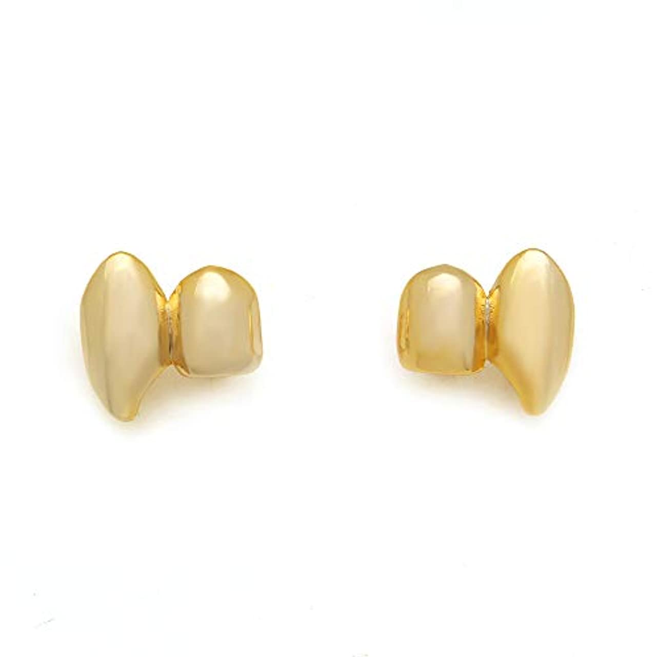 出費結婚専制歯のグリル 歯のグリル光沢のある二歯ヒップホップの歯のグリル二重歯の吸血鬼の牙グリルHolleweenのギフトのための1つのサイズ (色 : ゴールド)