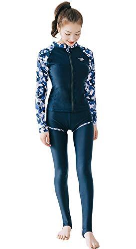 【TaoTech】 水着 レディース 4点セット ビキニ ラッシュガード UVカット 長袖 前開き フィットネス レギンス パンツ ブラ(M/type C)