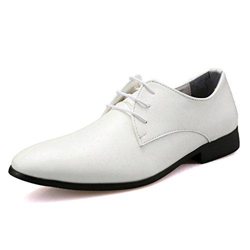 [QIFENGDIANZI]メンズ ビジネスシューズ 紳士靴 ドレスシューズ スリッポン モカシン 防滑 通勤 結婚式 フォーマル ウォーキング ヒールアップ オシャレ お兄系  白 25.5cm