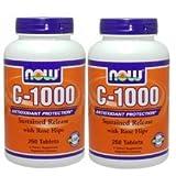 【2個セット】 [海外直送品] NOW Foods ビタミンC1000 ローズヒップ タイムリリース 250粒 Vitamin C-1000 Sust...