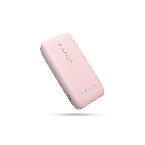携帯充電器 RAVPower 6700mAh 急速充電 モバイルバッテリー (6700mAh 最小・最軽量/2016年9月末時点、iSmart2.0機能搭載) iPhone / iPad / Xperia / タブレット / ゲーム機 等対応 RP-PB060 桜ピンク