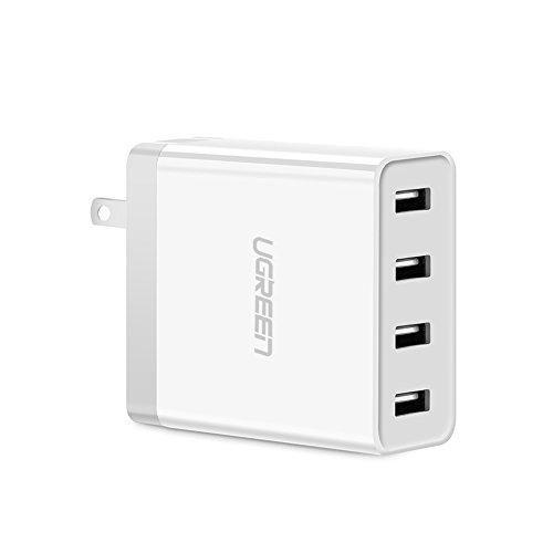 UGREEN USB 急速充電器 折りたたみ iPhone Android スマホ タブレット 高速充電 4ポート ACアダプター PS4 PSP WiFiルーター Bluetoothスピーカ モバイルバッテリーなども4台同時充電可能