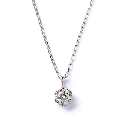 ネックレス レディース ダイヤモンド 華奢 0.08ct PLUSTER 一粒 PT900 プラチナ チェーン 40cm [ギフトボックスセット]