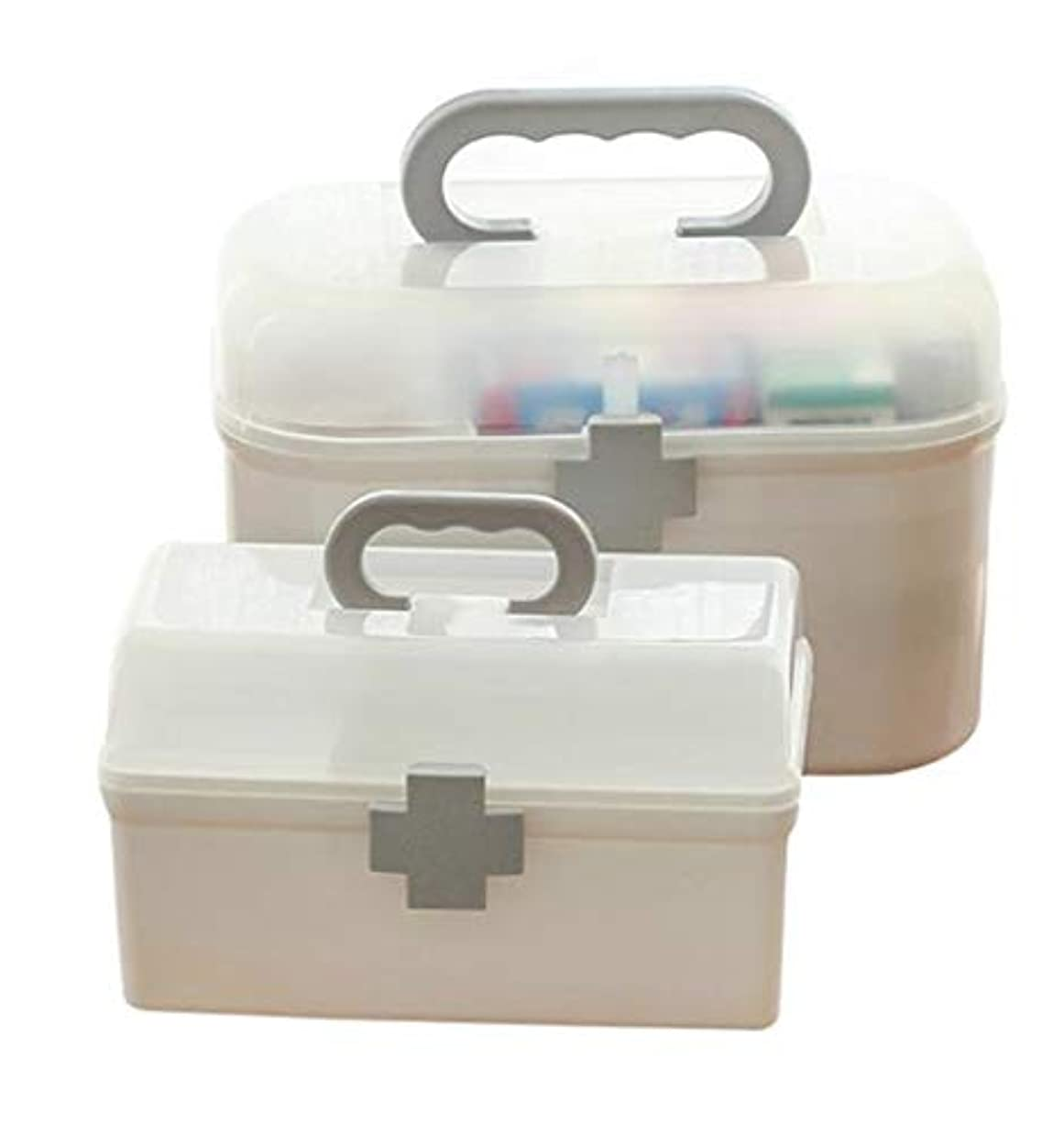 転用と遊ぶ害虫(フッカツ)薬箱 救急箱 応急処置 多機能 大容量 収納ボックス 薬入れ 小物入れ 2段式 道具ケース メイクケース ベビー 大人 家庭用 十字ロック ホワイトL