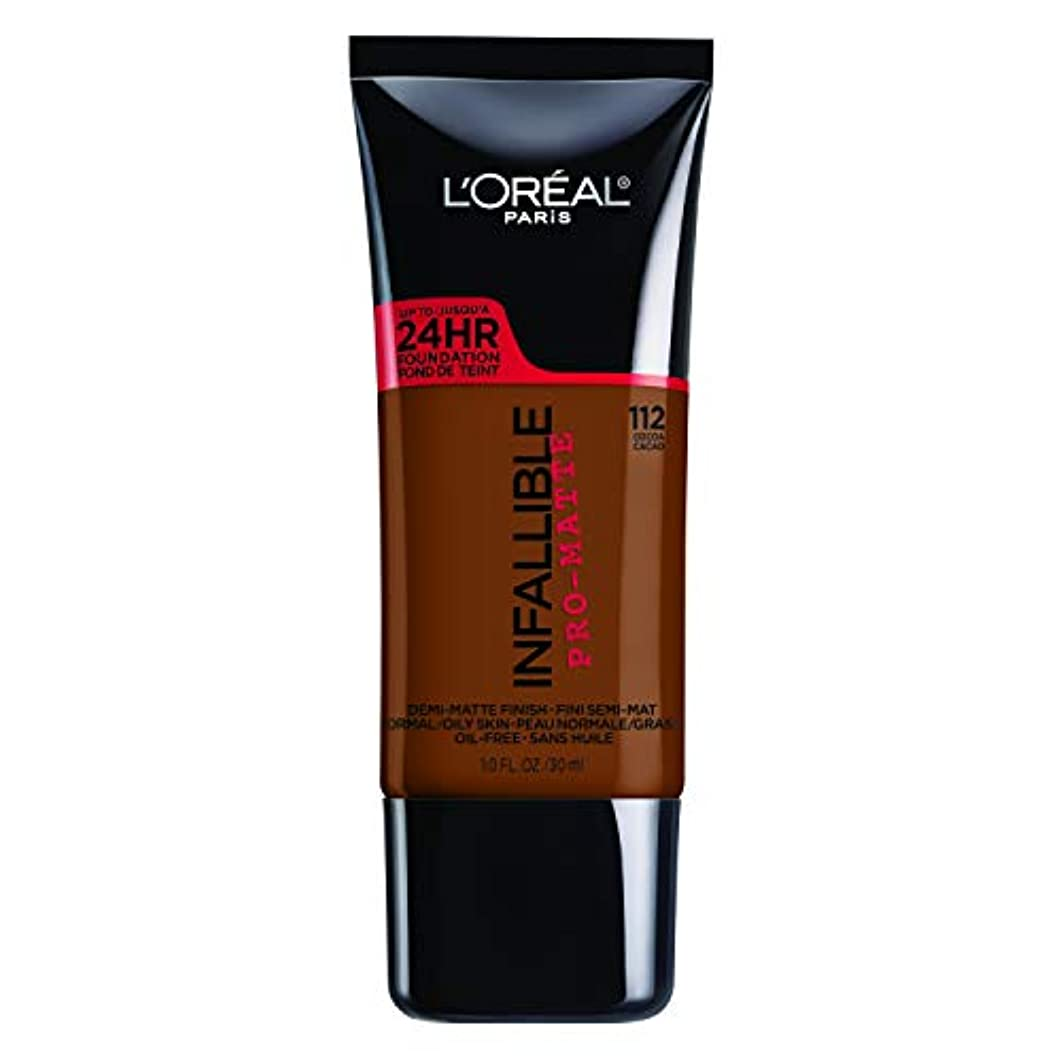 中胸フィールドL'Oreal Paris Infallible Pro-Matte Foundation Makeup, 112 Cocoa, 1 fl. oz[並行輸入品]