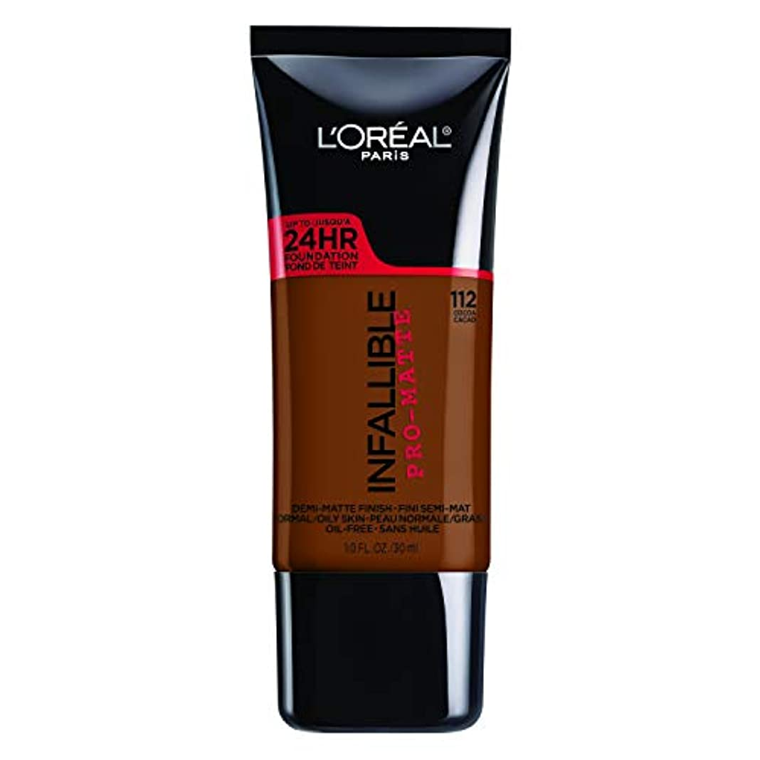 キリスト教ハブブ未亡人L'Oreal Paris Infallible Pro-Matte Foundation Makeup, 112 Cocoa, 1 fl. oz[並行輸入品]