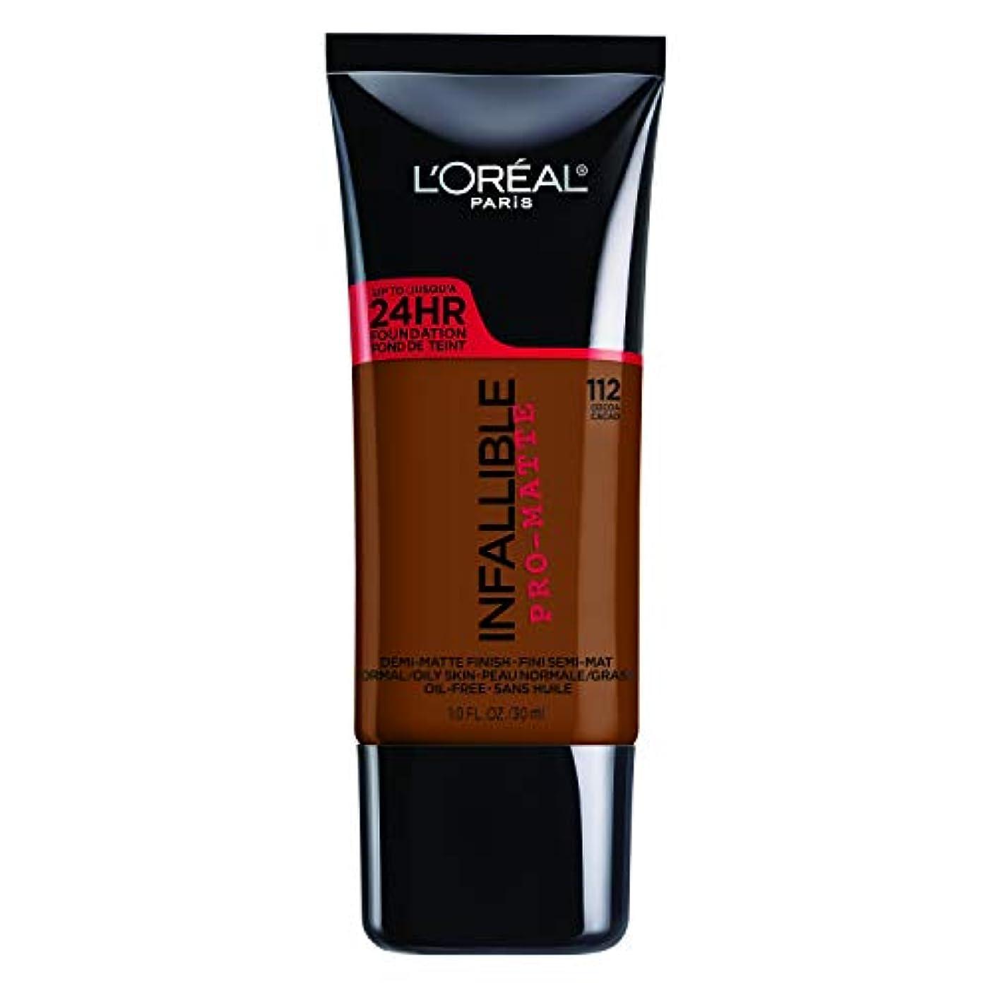 溝不一致保証するL'Oreal Paris Infallible Pro-Matte Foundation Makeup, 112 Cocoa, 1 fl. oz[並行輸入品]