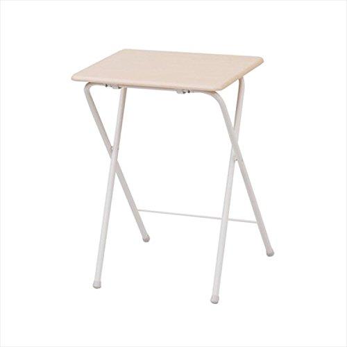 山善(YAMAZEN) テーブル ミニ 折りたたみ式 サイドテーブル 幅50×奥行48×高さ70cm ハイタイプ ナチュラルメイプル/アイボリー YST-5040H(NM/IV)