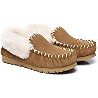UGG Slippers,Australia Premium Sheepskin,Unisex Popo Moccasins for Women Men
