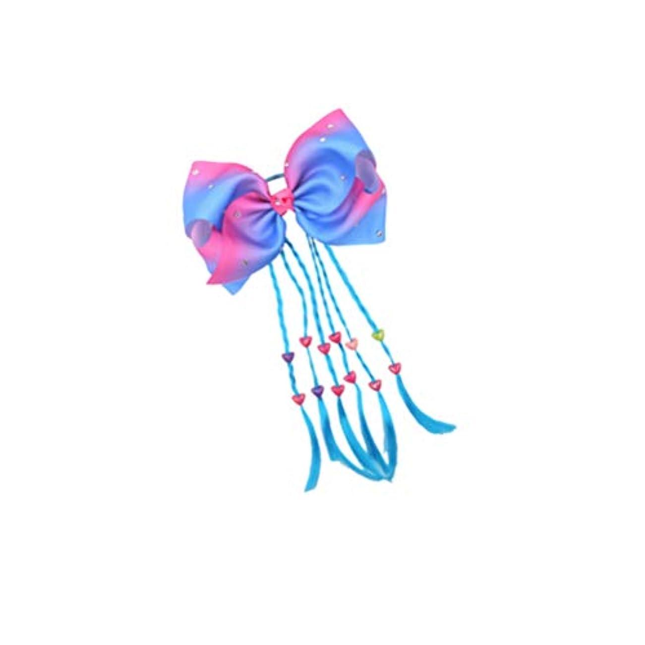シュリンク正当化する栄光のLurrose ヘアゴムヘアちょう結びヘアロープキッズポニーテールホルダー女の子女性パーティー用品青三つ編み