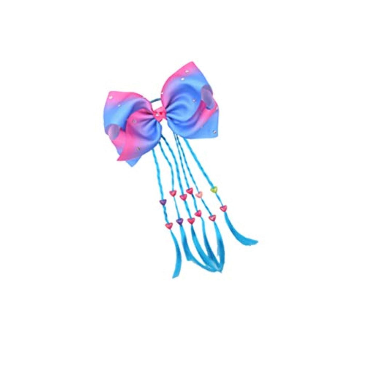 誰でもレジデンス偽善者Lurrose ヘアゴムヘアちょう結びヘアロープキッズポニーテールホルダー女の子女性パーティー用品青三つ編み