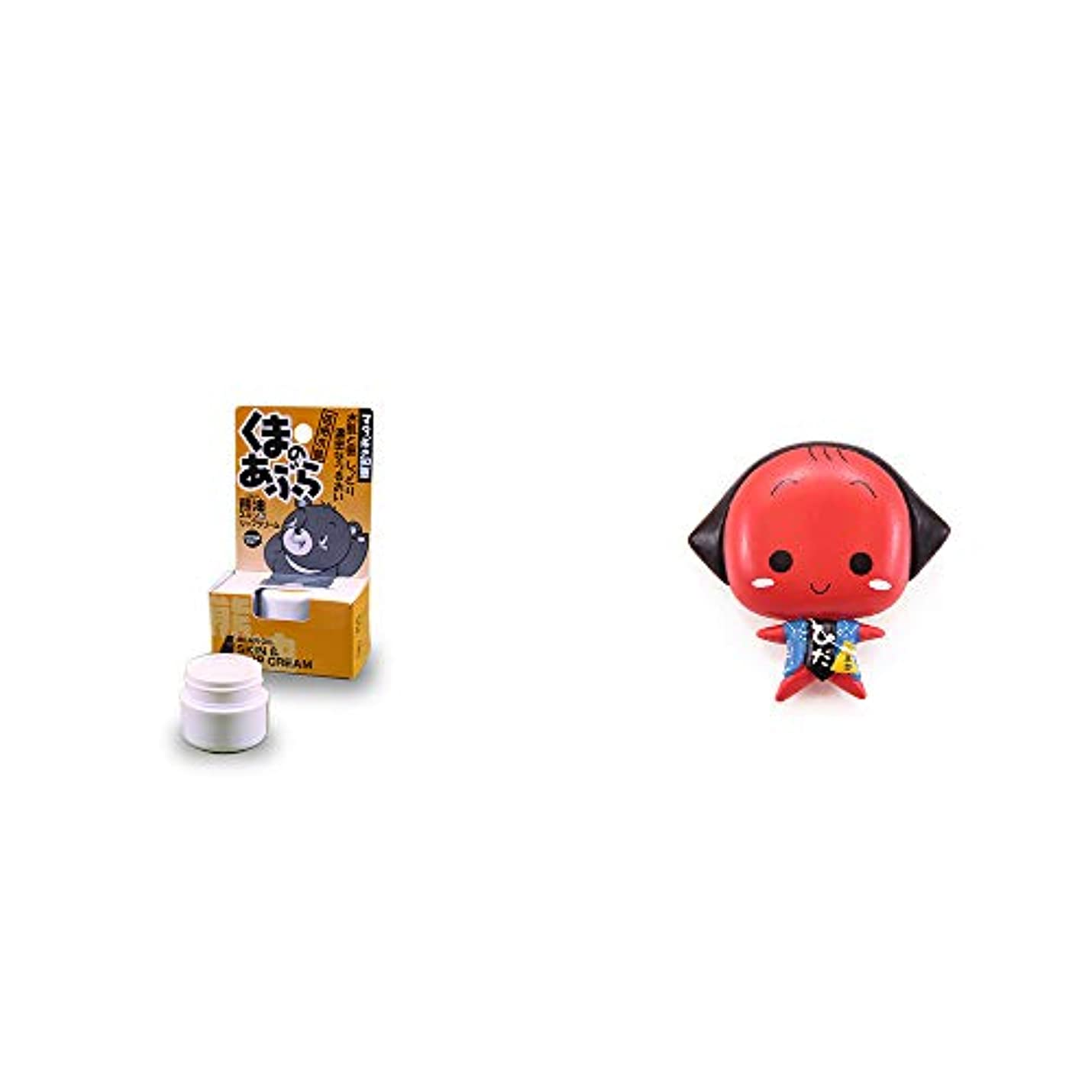 構成ビヨン構成[2点セット] 信州木曽 くまのあぶら 熊油スキン&リップクリーム(9g)?さるぼぼ アニメ顔 マグネット