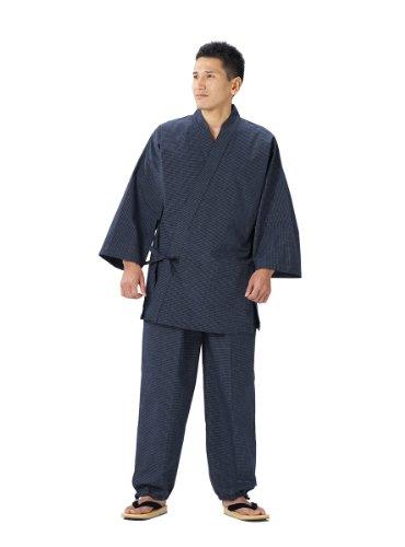 久留米文人織作務衣日本製飲食店のユニフォーム、お祝い、父の日、敬老の日、還暦祝い、プレゼントにも(M,紺)